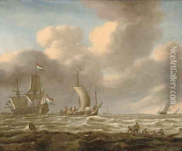 A Dutch man-o'-war and other shipping in choppy seas Oil Painting - Jan Peeters