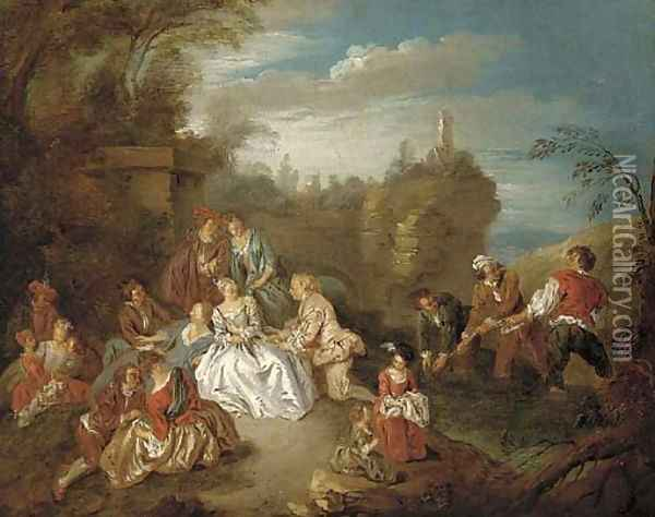 A fete champetre with boys fishing in a stream beyond Oil Painting - Jean-Baptiste Joseph Pater