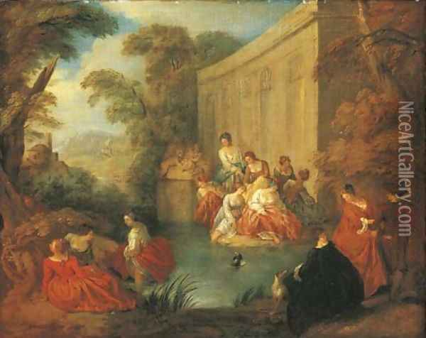Ladies bathing at a pool before a rococo pavilion, in a wooded clearing Oil Painting - Jean-Baptiste Joseph Pater