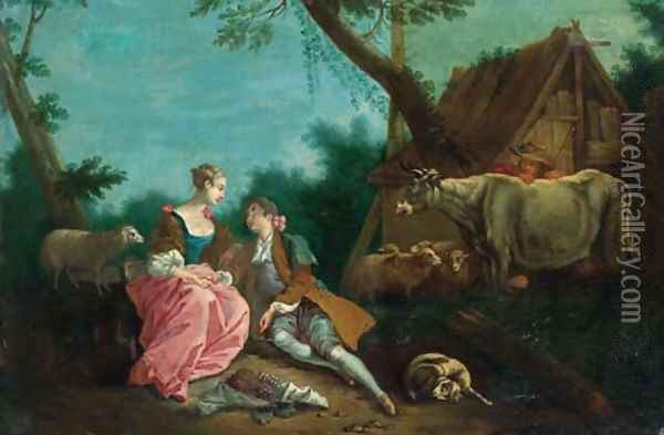 A shepherd courting a shepherdess by a farmhouse in a wooded landscape Oil Painting - Jean-Baptiste Joseph Pater