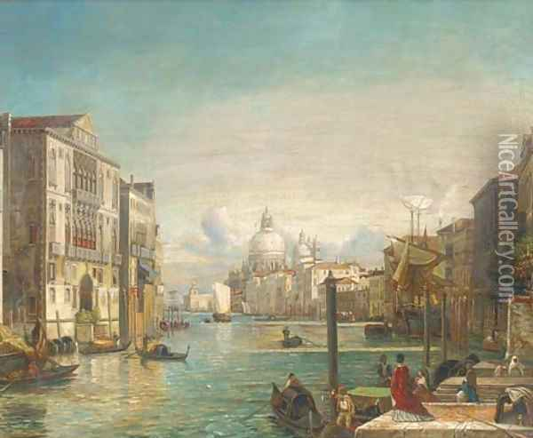 Gondolas on the Grand Canal, Venice Oil Painting - Alfred Pollentine