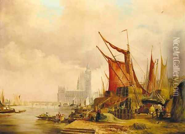 On the Embankment looking west to the Houses of Parliament Oil Painting - Alfred Pollentine