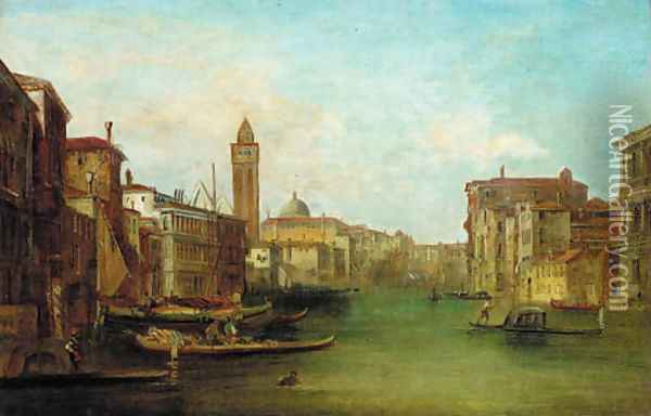 Gondolas on a Venetian Canal Oil Painting - Alfred Pollentine
