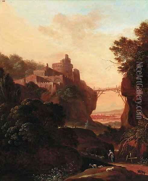 An extensive landscape with a clifftop town over a gorge; and An extensive landscape with figures resting by classical ruins Oil Painting - Cornelis Van Poelenburch