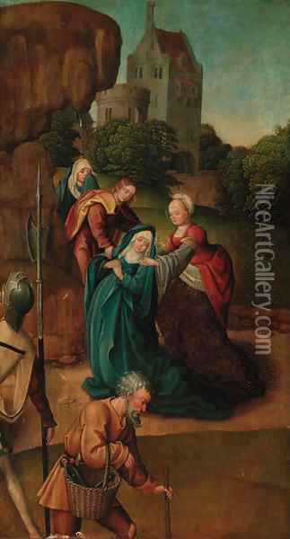 The Madonna swooning at the foot of the Cross with the three Marees Oil Painting - Jan Provost