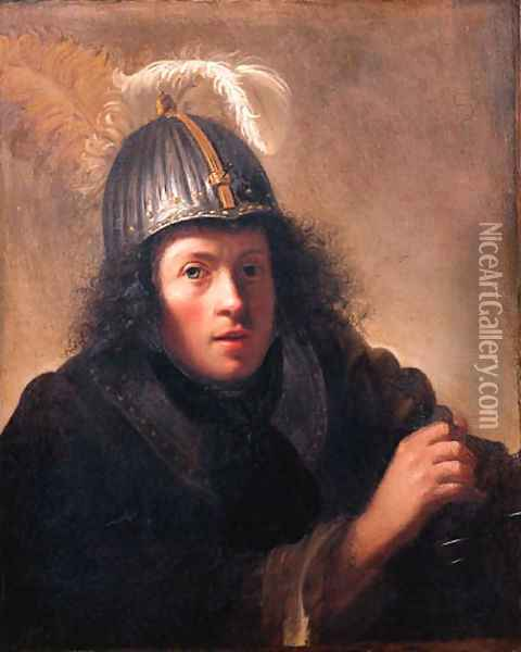 A youth, half length, wearing a helmet and holding a sword Oil Painting - Christoph Paudiss