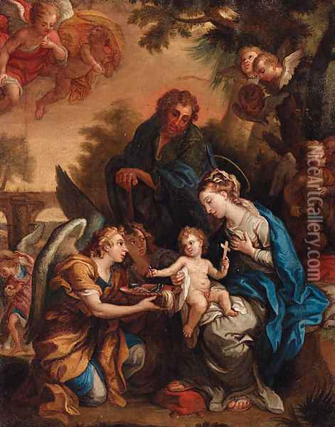 The Holy Family with Angels presenting the Instruments of the Passion Oil Painting - Giulio Cesare Procaccini