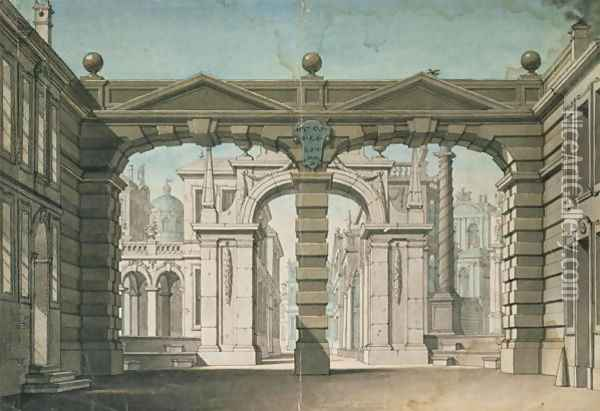 Set design for the world premiere performance of Idomeneo, by Wolfgang Amadeus Mozart in Munich, 1781 Oil Painting - Lorenzo I Quaglio