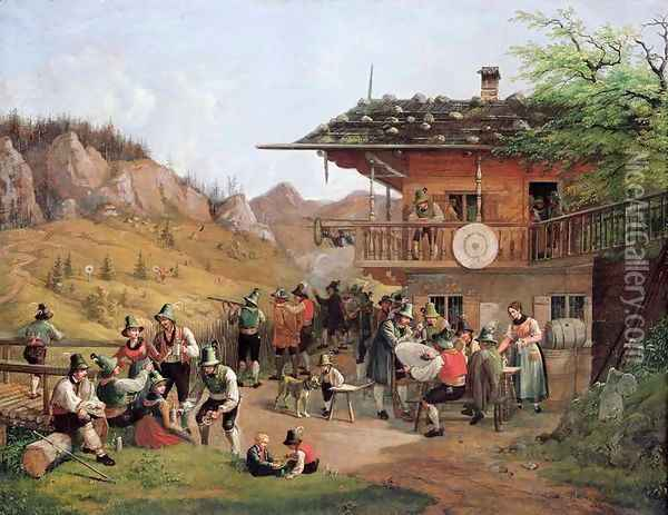 Target Practice in Fischbachau by Lake Schlier Oil Painting - Lorenzo I Quaglio