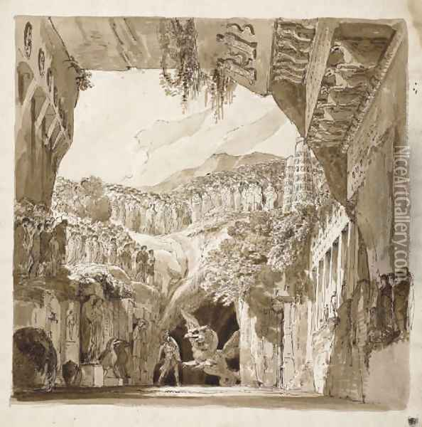 A stage design A man fighting a dragon in a cave (recto), Architectural sketches (verso) Oil Painting - Lorenzo I Quaglio