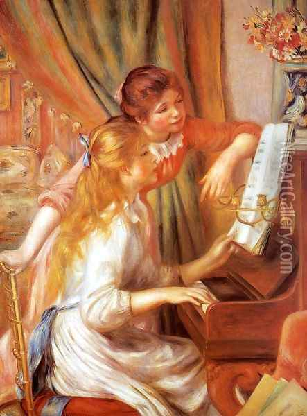 Girls At The Piano2 Oil Painting - Pierre Auguste Renoir