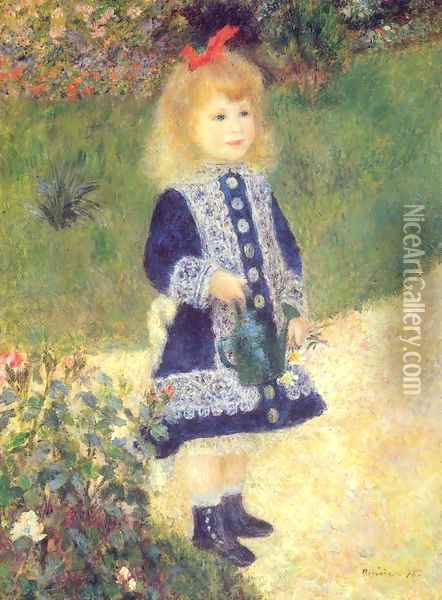A Girl with a Watering Can Oil Painting - Pierre Auguste Renoir