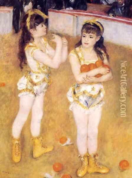 Acrobats At The Cirque Fernando Aka Francisca And Angelina Wartenberg Oil Painting - Pierre Auguste Renoir