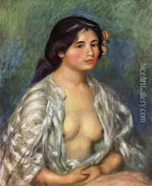 Gabrielle with an open blouse Oil Painting - Pierre Auguste Renoir