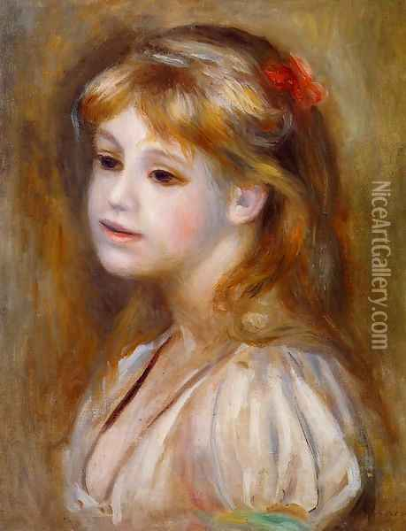 Little Girl With A Red Hair Knot Oil Painting - Pierre Auguste Renoir