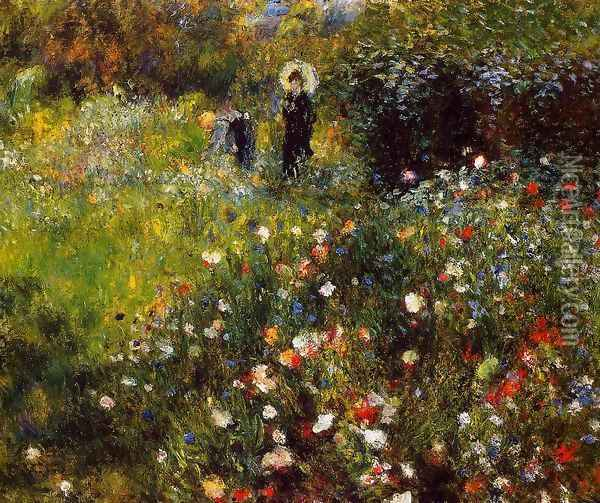 Summer Landscape Aka Woman With A Parasol In A Garden Oil Painting - Pierre Auguste Renoir