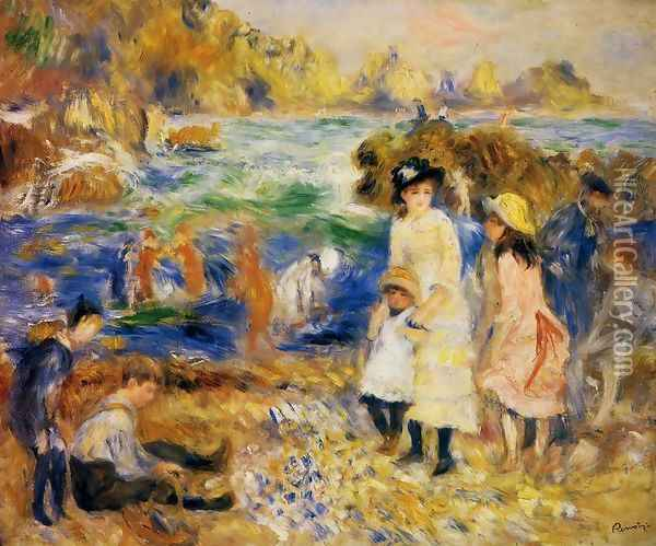 Children By The Sea In Guernsey Oil Painting - Pierre Auguste Renoir