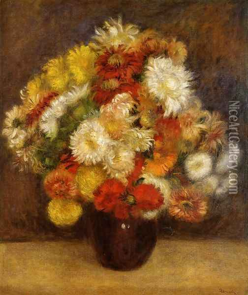 Bouquet Of Chrysanthemums Oil Painting - Pierre Auguste Renoir