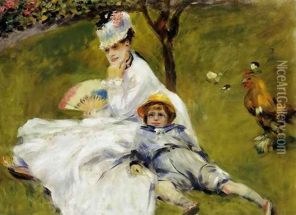Camille Monet And Her Son Jean In The Garden At Argenteuil Oil Painting - Pierre Auguste Renoir