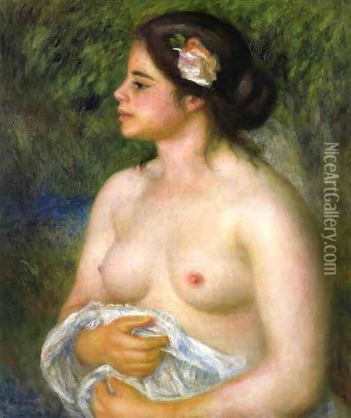 Gabrielle With A Rose Aka The Sicilian Woman Oil Painting - Pierre Auguste Renoir