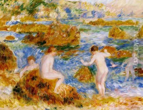 Nude Boys On The Rocks At Guernsey Oil Painting - Pierre Auguste Renoir