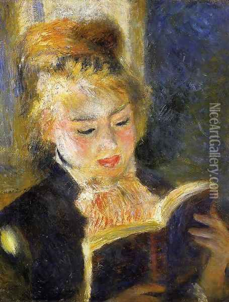 The Reader Aka Young Woman Reading A Book Oil Painting - Pierre Auguste Renoir