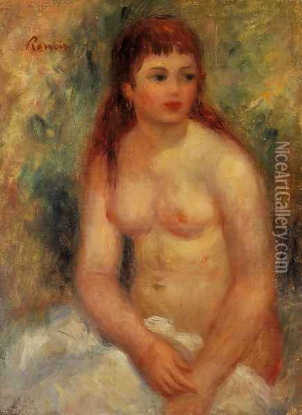 Seated Young Woman Nude Oil Painting - Pierre Auguste Renoir