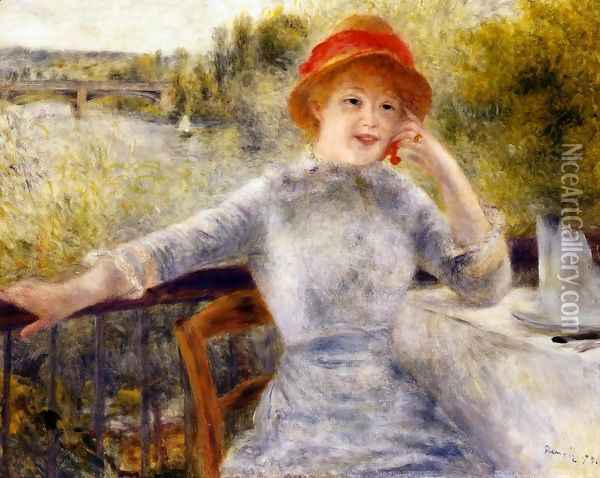 Alphonsine Fournaise On The Isle Of Chatou Oil Painting - Pierre Auguste Renoir