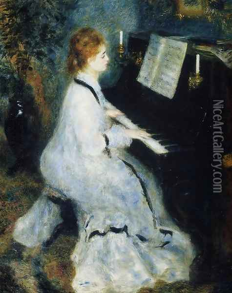 Young Woman At The Piano Oil Painting - Pierre Auguste Renoir