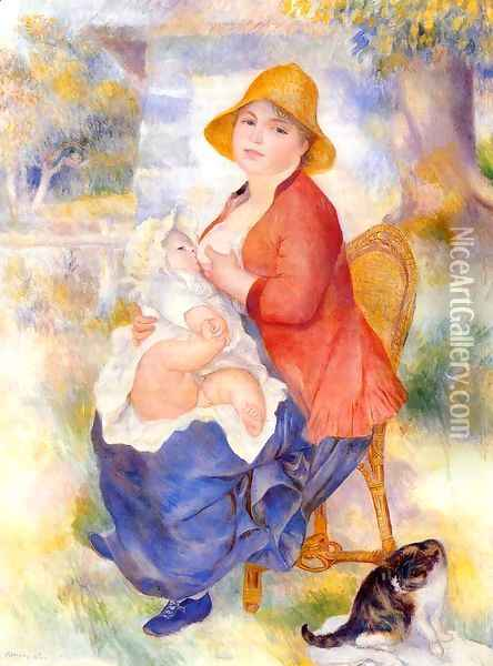 Motherhood Aka Woman Breast Feeding Her Child2 Oil Painting - Pierre Auguste Renoir