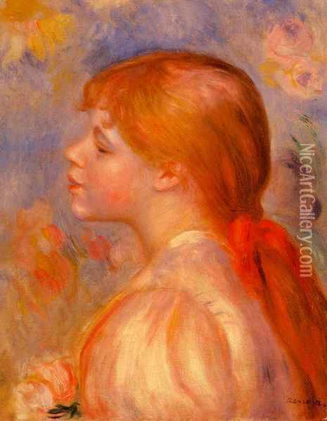 Girl with a Red Hair Ribbon Oil Painting - Pierre Auguste Renoir