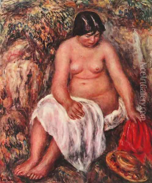 Act with a straw hat Oil Painting - Pierre Auguste Renoir