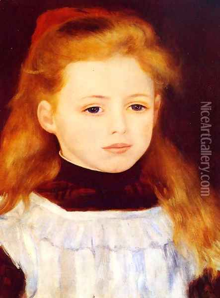 Little Girl In A White Apron Aka Portrait Of Lucie Berard Oil Painting - Pierre Auguste Renoir