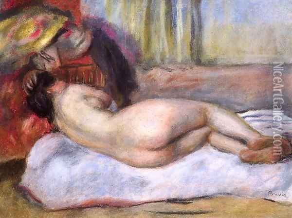 Sleeping Nude With Hat Aka Repose Oil Painting - Pierre Auguste Renoir