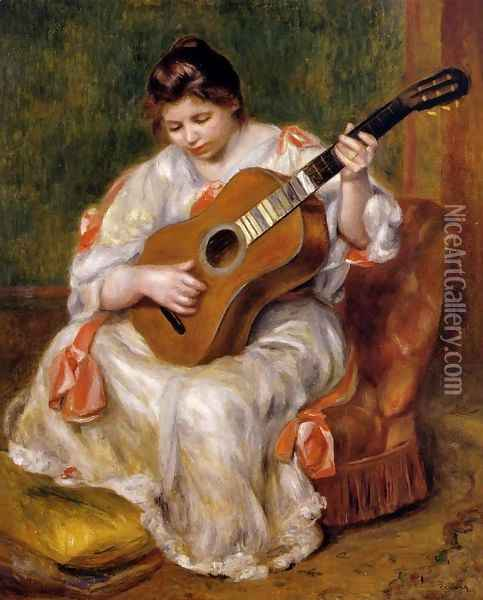 Woman Playing The Guitar Oil Painting - Pierre Auguste Renoir