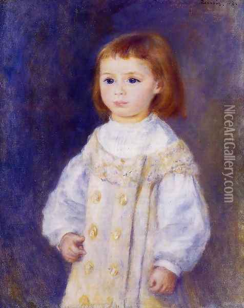 Child In A White Dress Aka Lucie Berard Oil Painting - Pierre Auguste Renoir