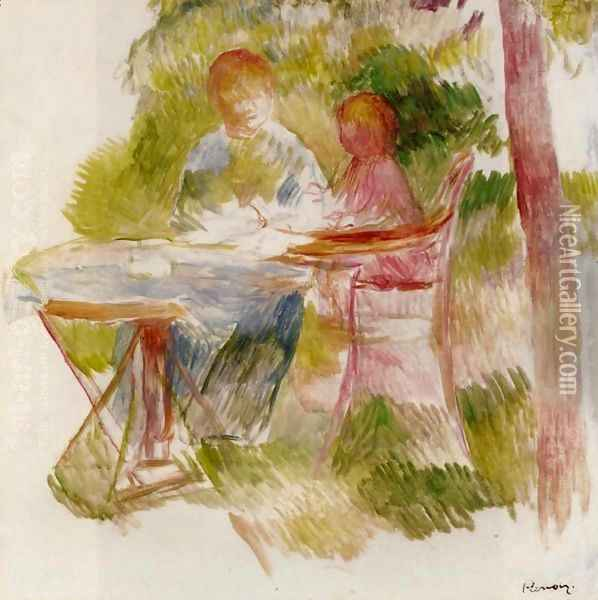 Woman And Child In A Garden (sketch) Oil Painting - Pierre Auguste Renoir