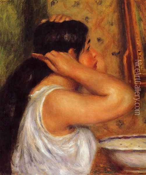 La Toilette Woman Combing Her Hair Oil Painting - Pierre Auguste Renoir