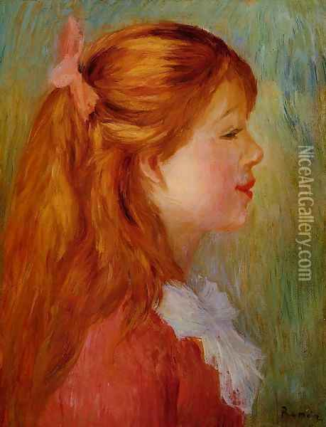Young Girl With Long Hair In Profile Oil Painting - Pierre Auguste Renoir