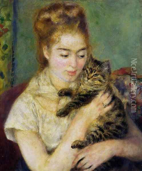 Woman With A Cat Oil Painting - Pierre Auguste Renoir