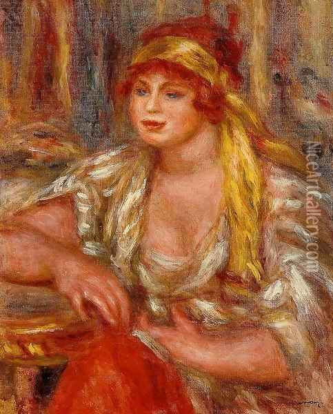 Andree In Yellow Turban And Blue Skirt Oil Painting - Pierre Auguste Renoir