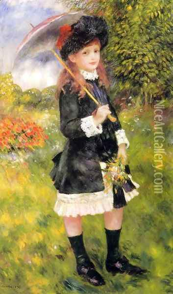 Girl With A Parasol Aka Aline Nunes Oil Painting - Pierre Auguste Renoir