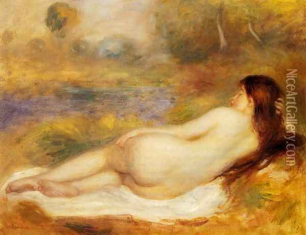 Nude Reclining On The Grass Oil Painting - Pierre Auguste Renoir