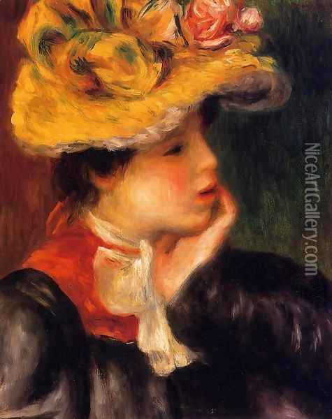 Head Of A Young Woman Aka Yellow Hat Oil Painting - Pierre Auguste Renoir