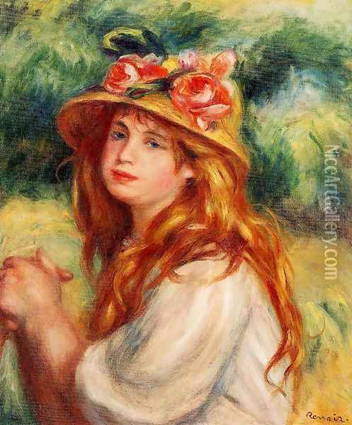 Blond In A Straw Hat Aka Seated Girl Oil Painting - Pierre Auguste Renoir
