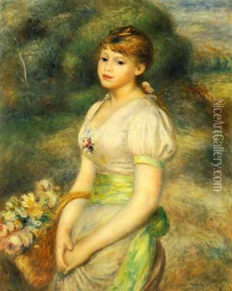 Young Girl With A Basket Of Flowers Oil Painting - Pierre Auguste Renoir