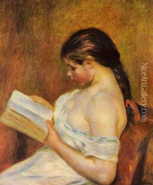 Young Girl Reading Oil Painting - Pierre Auguste Renoir