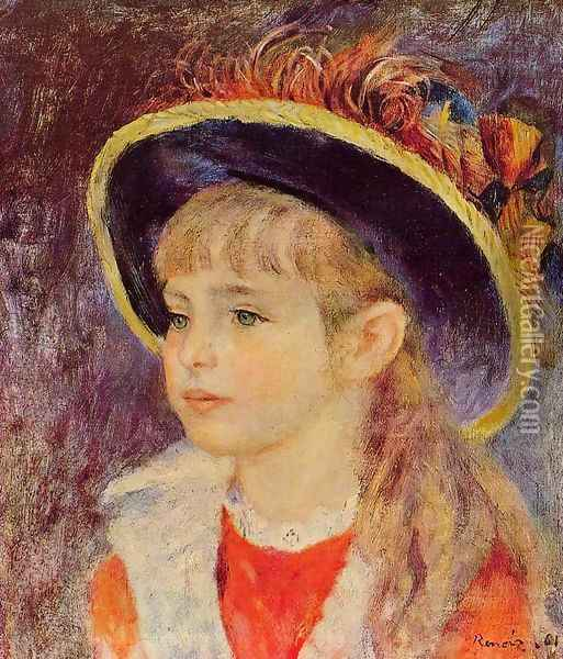 Young Girl In A Blue Hat Oil Painting - Pierre Auguste Renoir