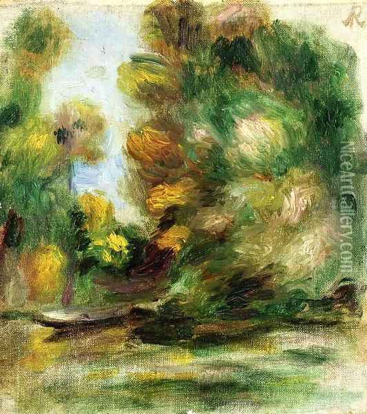 Banks Of The River A Boat Oil Painting - Pierre Auguste Renoir