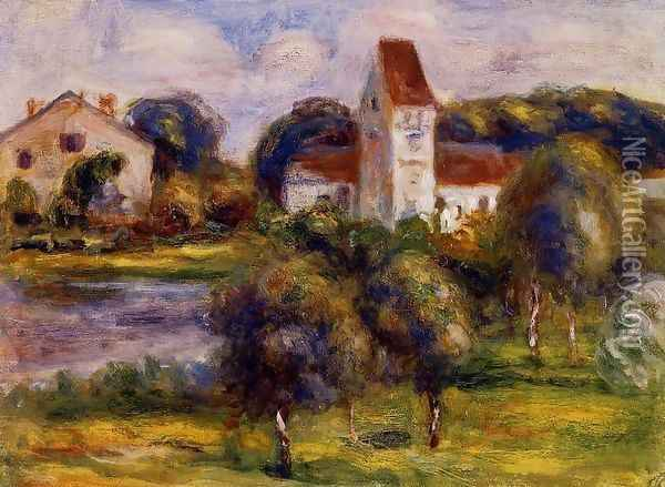 Breton Landscape Church And Orchard Oil Painting - Pierre Auguste Renoir